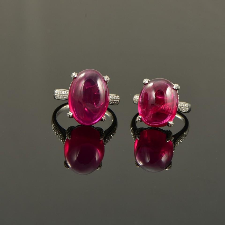 素面红宝石设计镶嵌母女款戒指