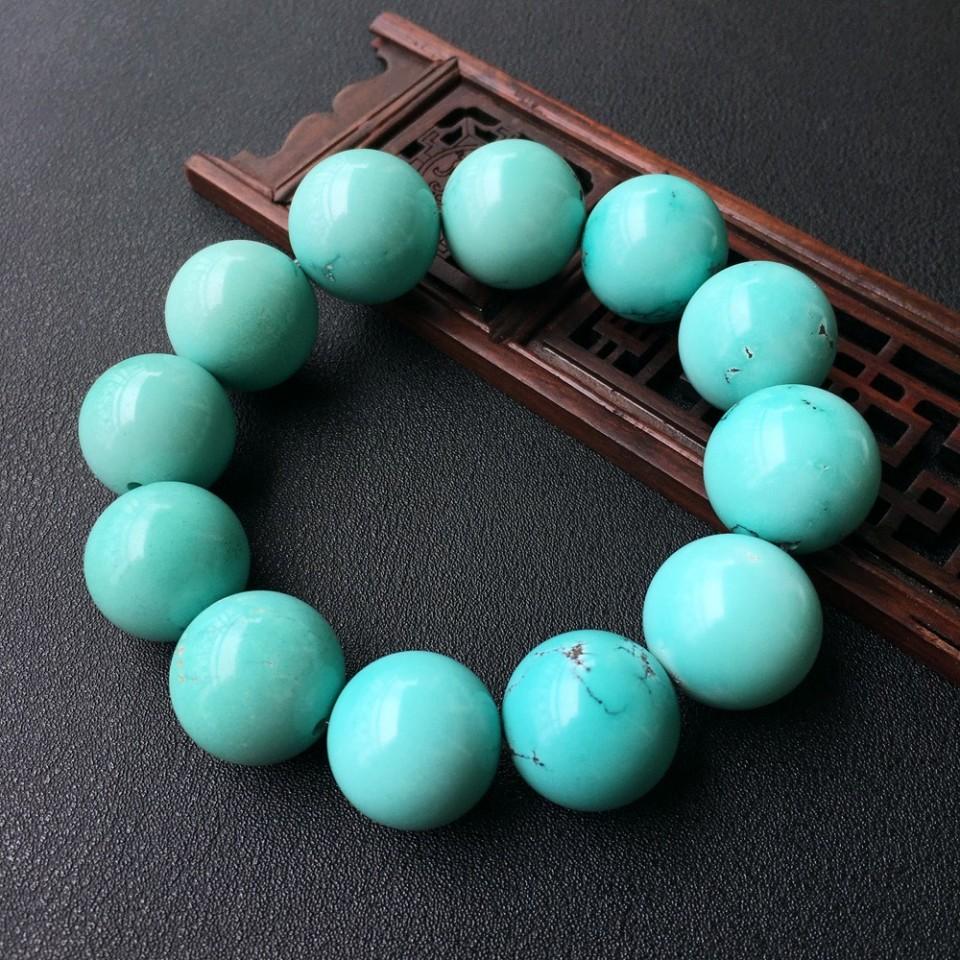 绿松石收藏级精品圆珠手串