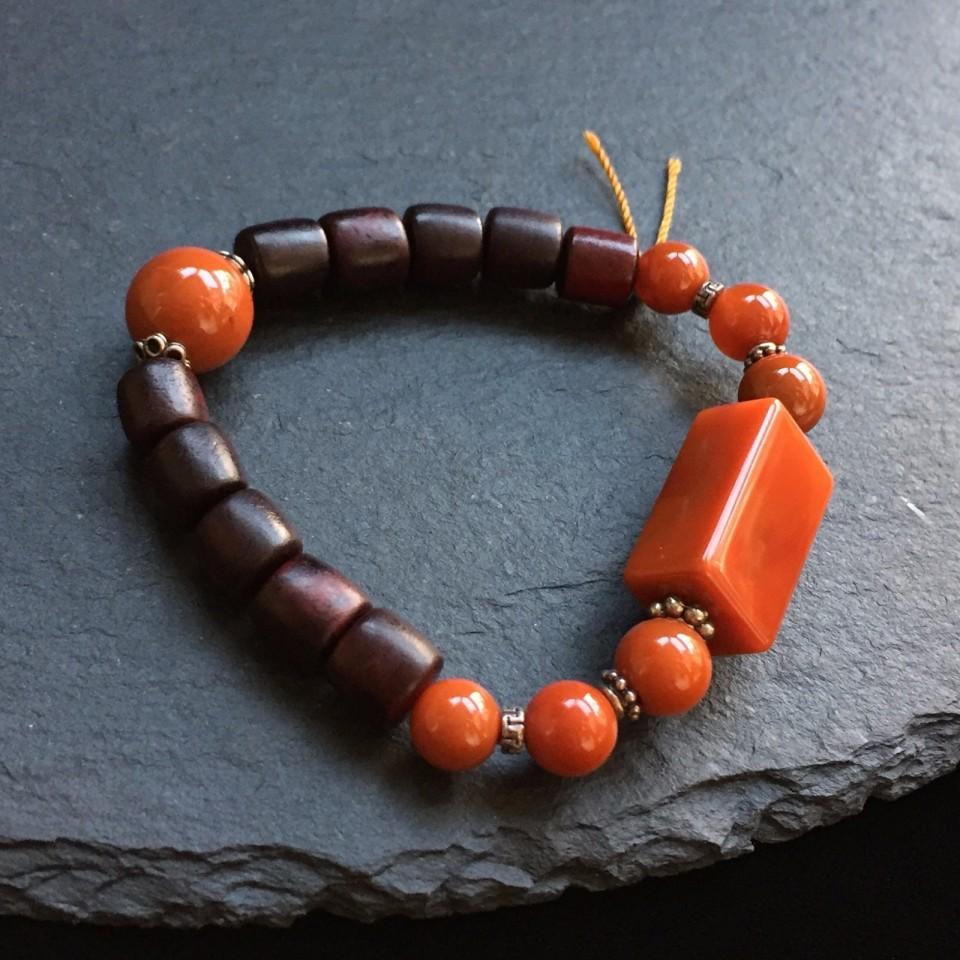 南红柿子红小叶紫檀方珠手串
