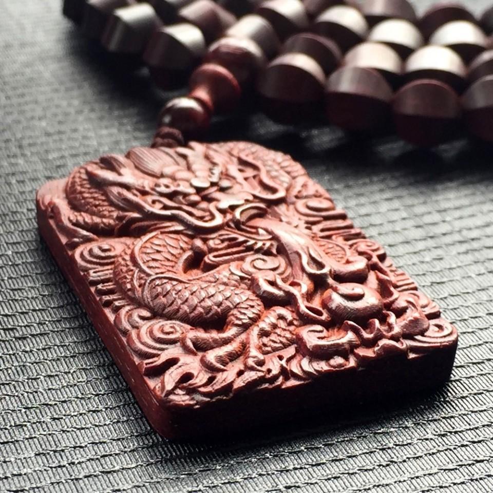 小叶紫檀龙牌项链