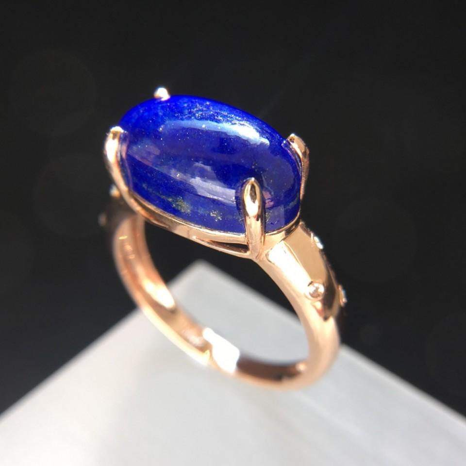 18K金天然青金石戒指