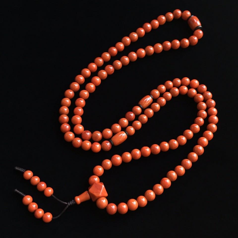 南红柿子红8.8mm佛珠