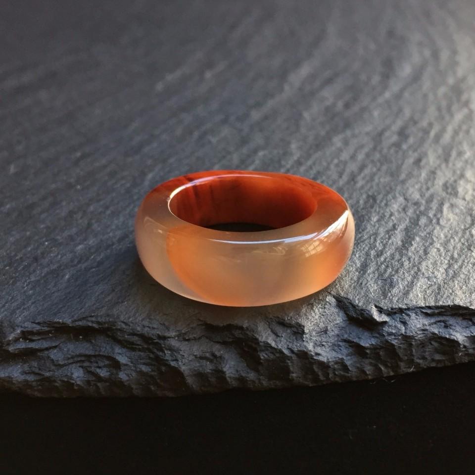 南红柿子红冻料鸿运当头指环