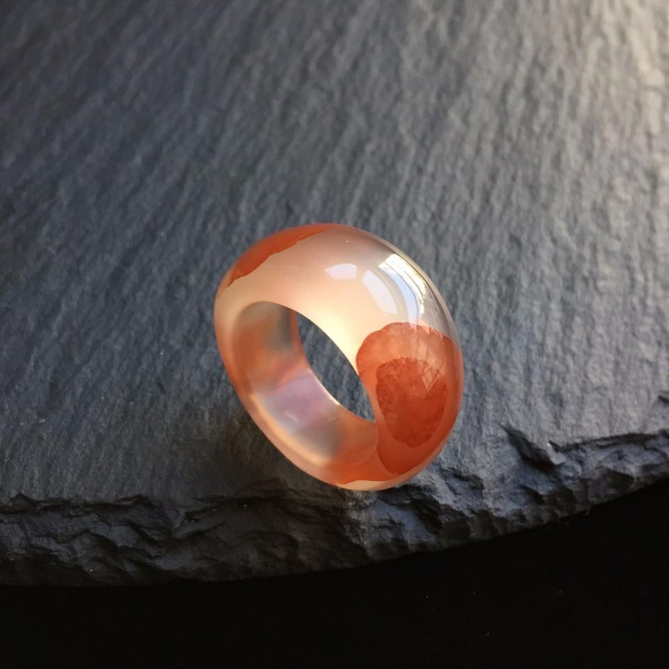 南红冰飘红花开富贵指环