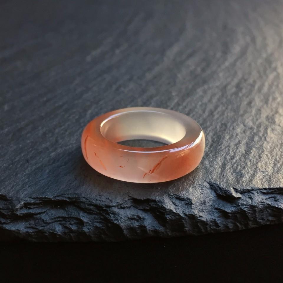 南红冰飘红细风指环