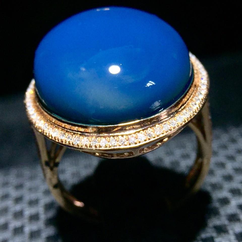 18K多米尼加蓝珀戒指