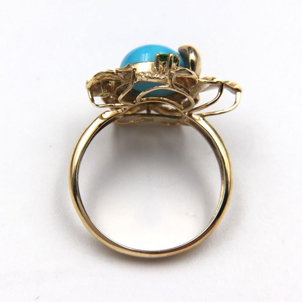18K金镶天然绿松石戒指