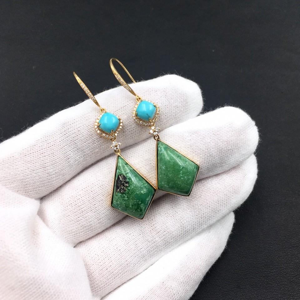 18K金镶钻天然绿松石耳环