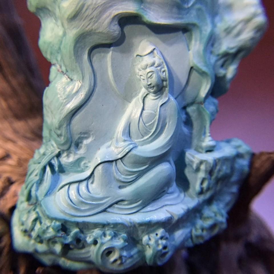收藏级绿松石水月观音摆件