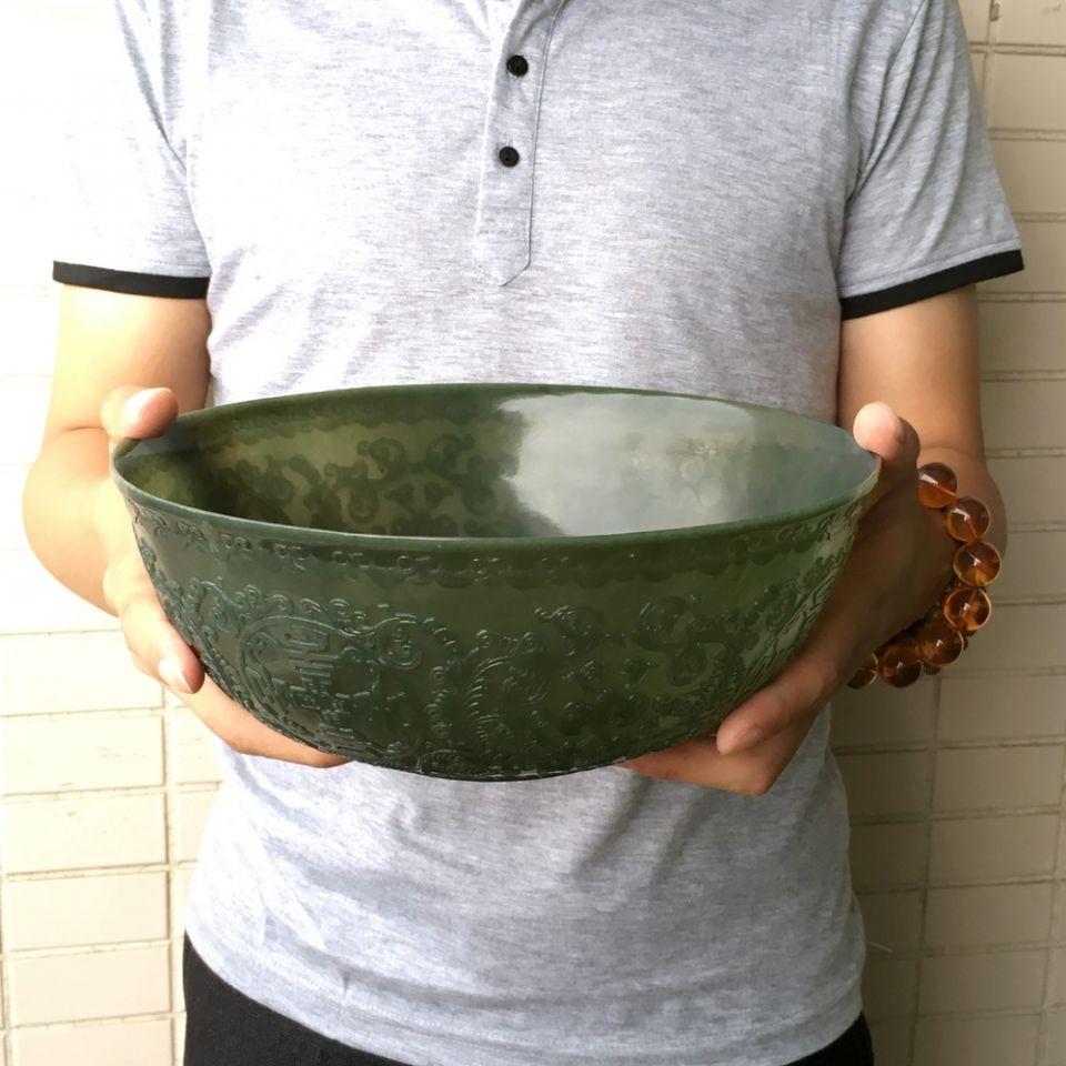 天然和田青玉薄胎大碗(一对走)