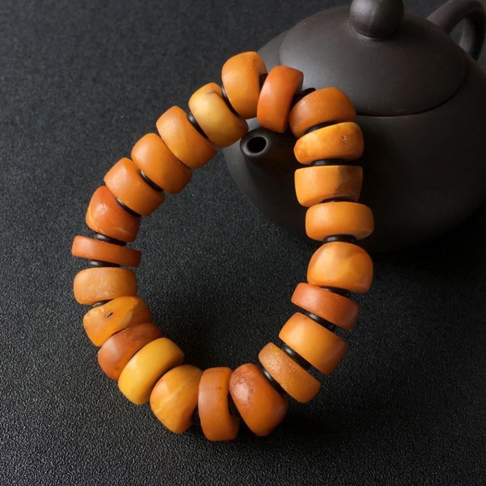 古董蜜蜡盘珠手串