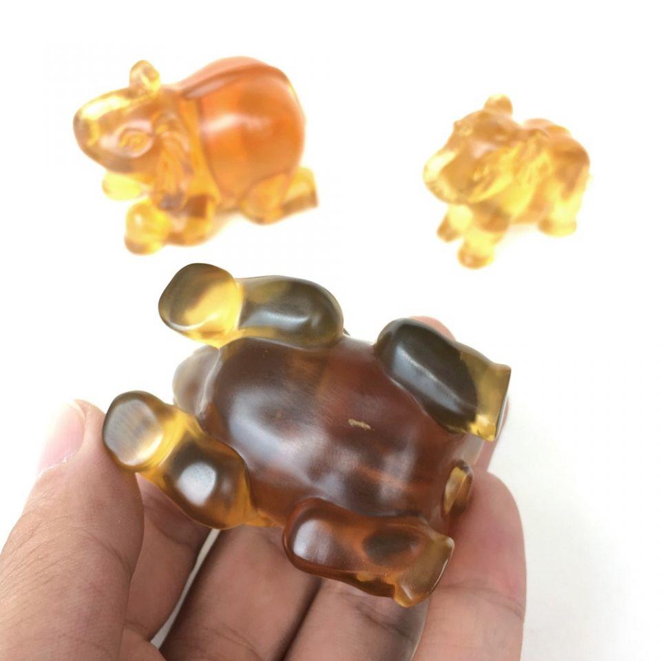 天然墨西哥琥珀大象摆件(套装)