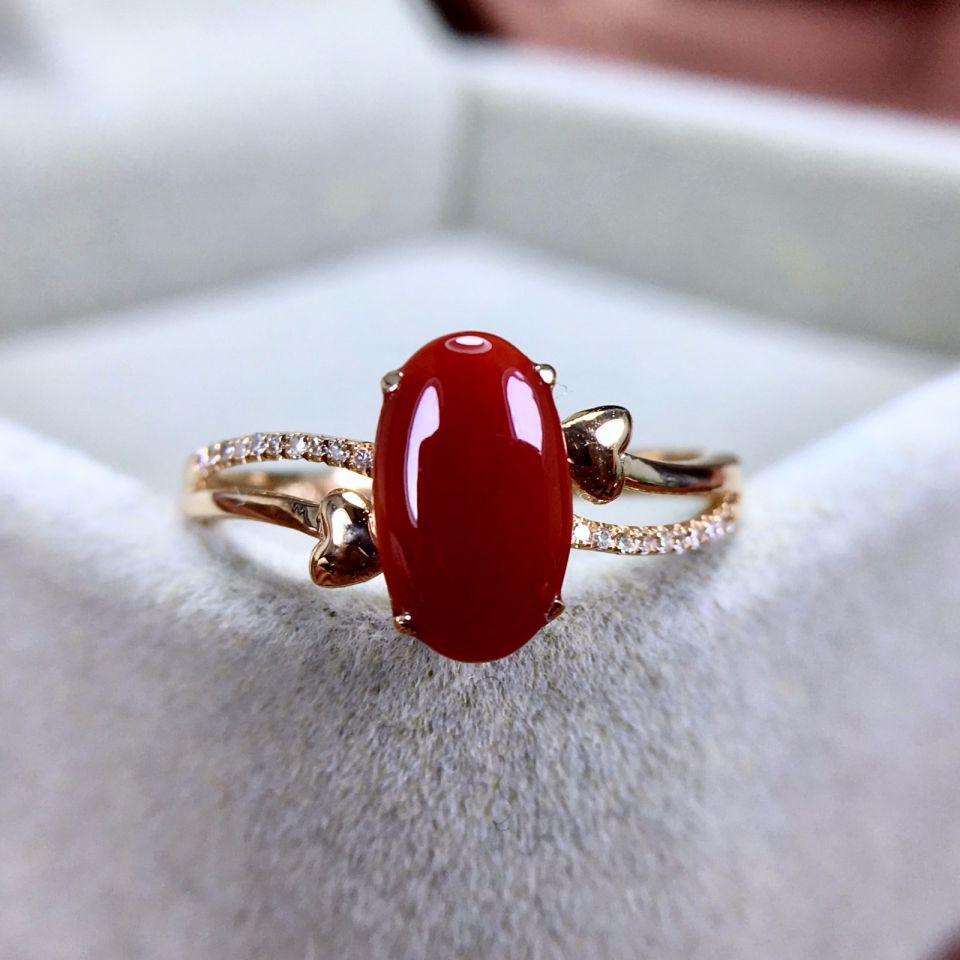 18k金镶天然阿卡珊瑚戒指