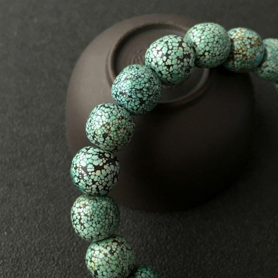 网花天然绿松石手串