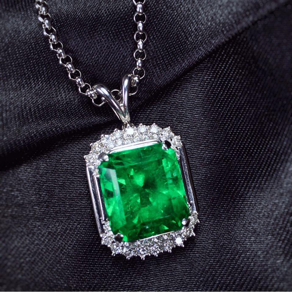 PT铂金镶天然祖母绿项链
