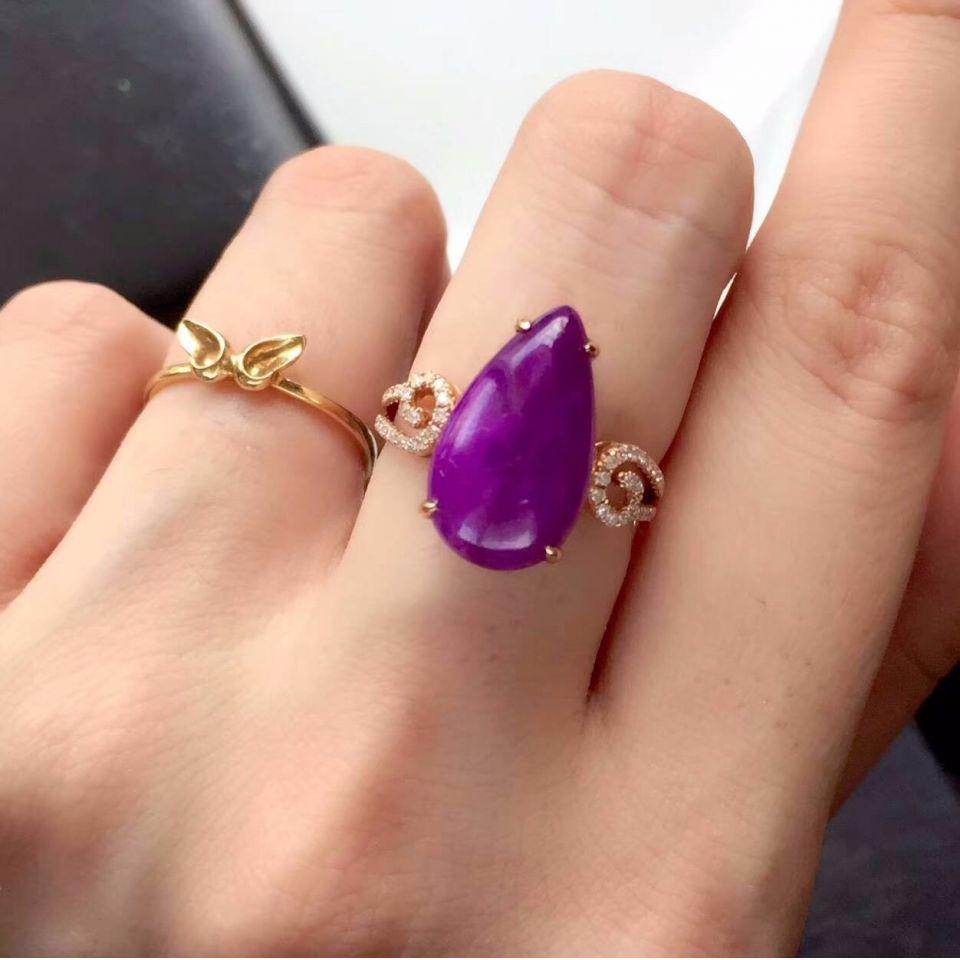 18K金镶天然皇家紫舒俱来戒指