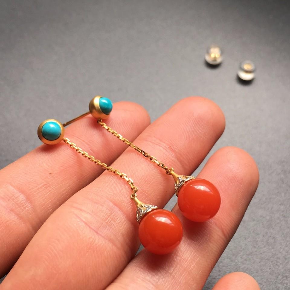 【超值推荐】宝玉石级南红樱桃红镶黄18K金耳环