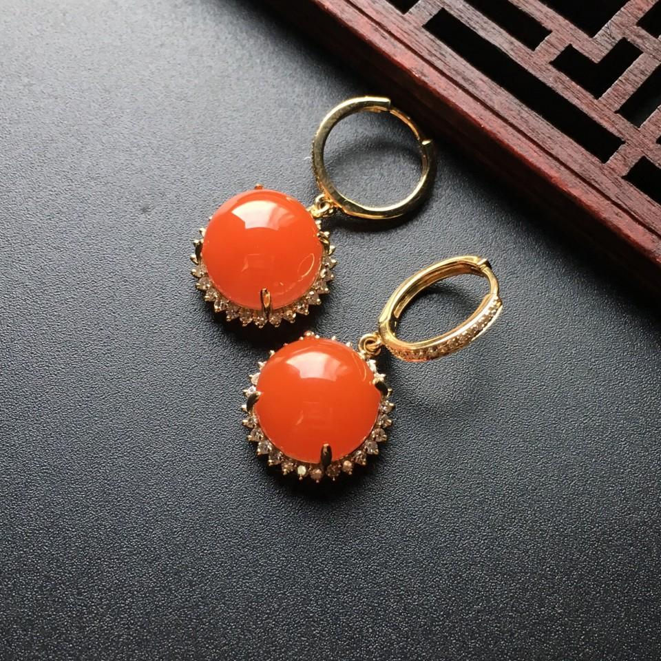 【超值推荐】宝玉石级南红樱桃红镶玫瑰金耳环