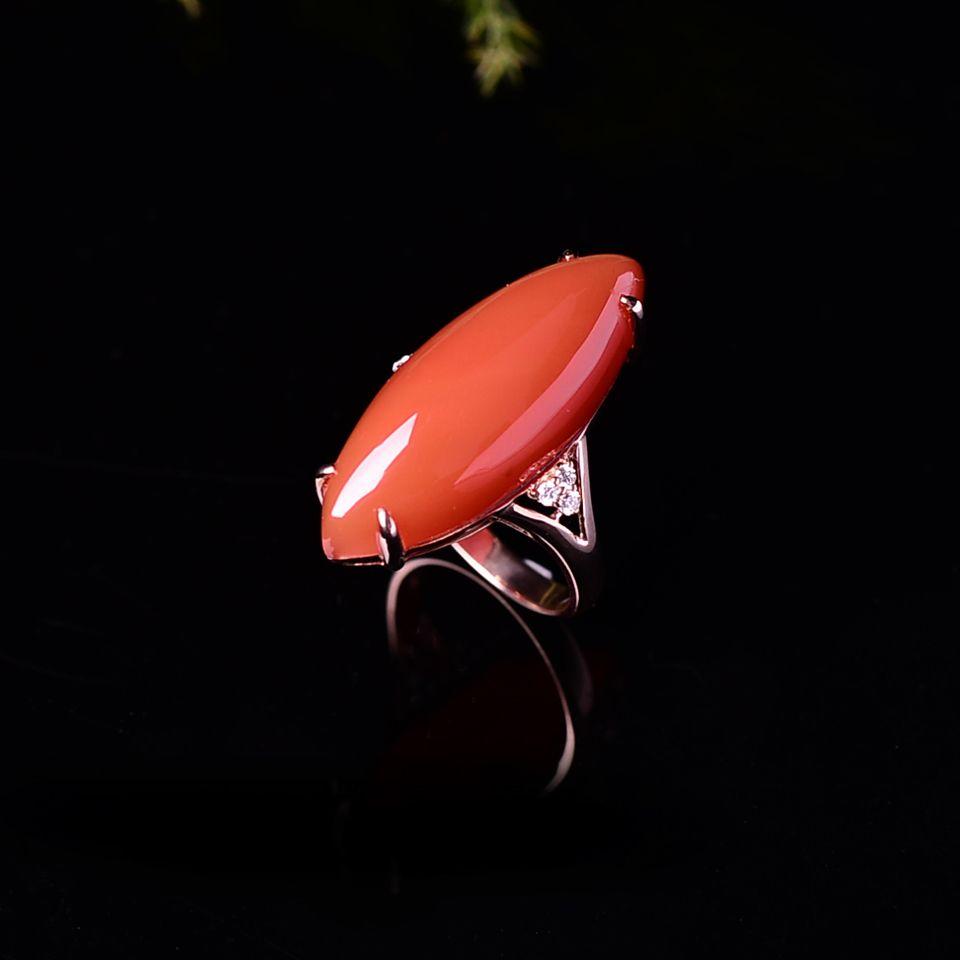 【超值推荐】宝玉石级 南红樱桃红镶18K玫瑰金戒指